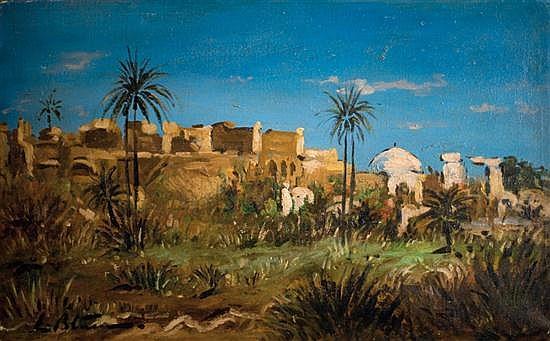 Ludwig Blum 1891-1975 (Israeli) Kfar Achziv, 1960's oil on canvas