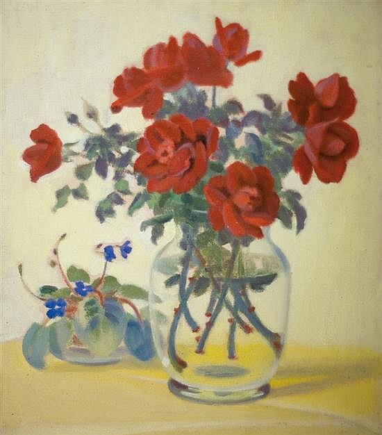 Shmuel Charuvi 1897-1965 (Israeli) Red roses in glass vase, 1952 oil on canvas