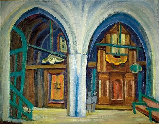 Sionah Tagger 1900-1988 (Israeli) Abuhav synagogue in Safed, 1950's oil on canvas
