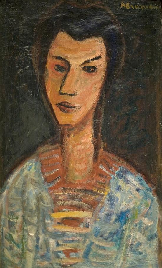 Pinchas Abramovich 1909-1986 (Israeli) Modigliani inspired portrait oil on canvas