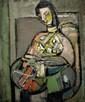 Zvi Mairovitch 1911-1974 (Israeli) Seated woman oil on canvas