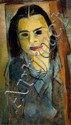 Naftali Bezem b. 1924 (Israeli) Portrait of young girl, 1946 oil on paper mounted on canvas