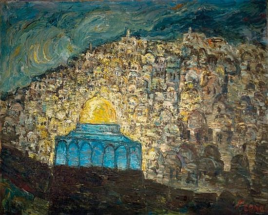 Yitzhak Frenkel Frenel 1899-1981 (Israeli) Jerusalem oil on canvas