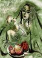 **Reuven Rubin 1893-1974 (Israeli) Madonna with pomegranate, c. 1960 oil on canvas