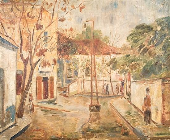 Haim Gliksberg 1904-1970 (Israeli) Lamppost in Neve Zedek, c. 1929 oil on canvas