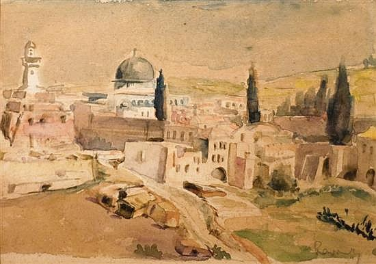 Fredrick William Rowney 1820-1902 (British) Old City, Jerusalem watercolor on paper