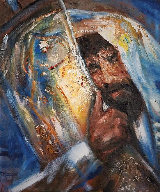Huvy b.1927 (Israeli) Rabbi with Torah, 1976-77 oil and sand on canvas