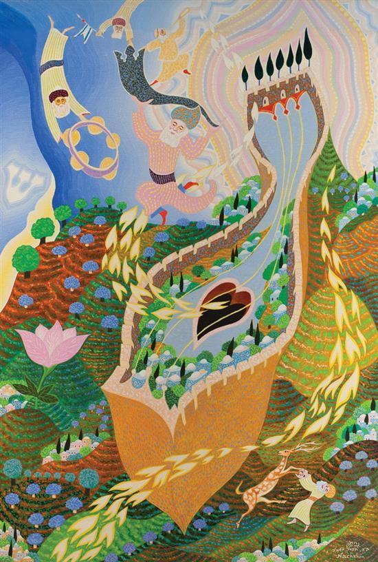 Baruch Nachshon b.1939 (Israeli) Song for Jerusalem, 1984-5 oil on canvas