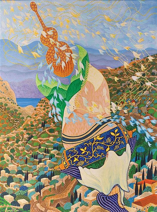 Baruch Nachshon b.1939 (Israeli) Song for Jerusalem, 1981-2 oil on canvas