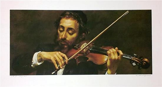 Isaac Holtz b.1927 (Polish, American) Violonist color lithograph