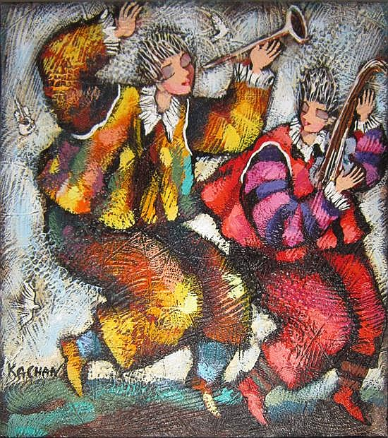 Michael Kachan b.1964 (Armenian, Israeli) Players oil on canvas