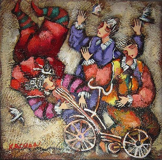 Michael Kachan b.1964 (Armenian, Israeli) Children with bicycle oil on canvas