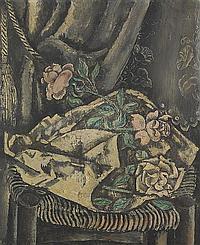 Sei KOYANAGUI (Sappon 1896-France 1948) Bouquet de fleurs Huile sur toile d origine 65 x 54 cm Signé en bas à gauche Koyonagui