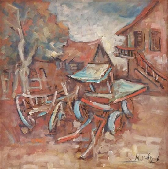 Shemuel Goldstein 1921-2006 (Israeli) Country yard oil on masonite