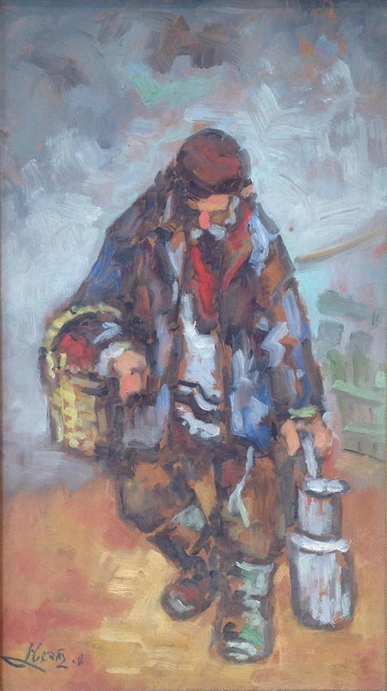 Shemuel Goldstein 1921-2006 (Isareli) An elderly man carrying baskets oil on masonite