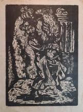 Miron Sima 1902-1999 (Israeli) Dancing with the Torah, 1953 woodcut