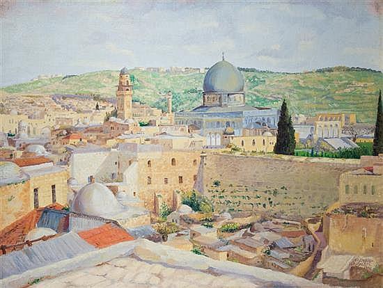 Yaacov Eisenberg 1897-1966 (Israeli) Jerusalem. The Wailing Wall, 1941 oil on canvas mounted on board