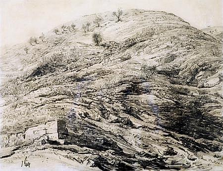 Leopold Krakauer 1890-1954 (Israeli) Judean Mountains pencil