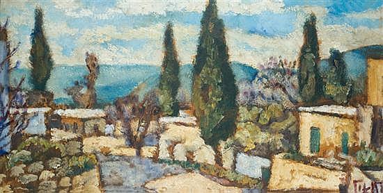 Arieh Allweil 1901-1967 (Israeli) Galilee Landscape oil on cardboard