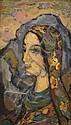 Jakob Steinhardt 1887-1968 (Israeli) Woman, 1958 oil on carton, Jacob Steinhardt, Click for value