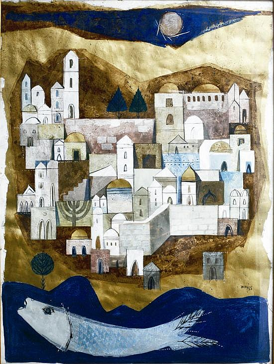 Sami Briss b. 1930 (Israeli, French) Jerusalem oil and mixed media on paper mounted on canvas