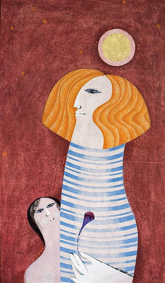 Sami Briss b. 1930 (Israeli, French) Scene de la vie quotidiene oil on panel