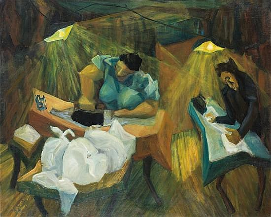 David Rakia b. 1928 (Israeli) Women ironing, 1956 oil on canvas