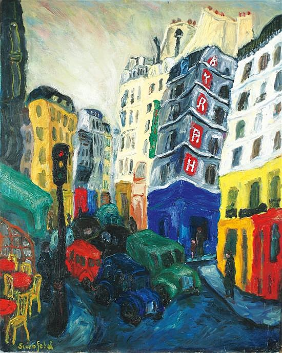 David Rakia b. 1928 (Israeli) Street in Paris, 1956 oil on canvas