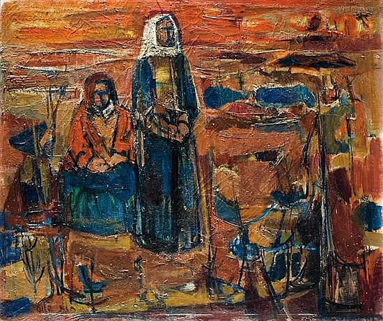 ** Ruth Schloss b. 1922 (Israeli) Shepherds, 1959 oil on canvas