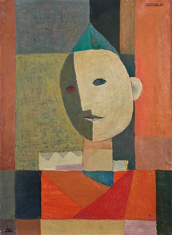 ** Avraham Naton 1906-1959 (Israeli) Cubist men, 1956 oil on canvas