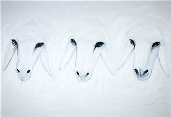 Menashe Kadishman b. 1932 (Israeli) Three white sheep heads acrylic on canvas