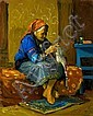 Avi Schwartz b. 1938 (Israeli) Old woman knitting oil on masonite, Avi Schwartz, Click for value