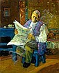 Avi Schwartz b. 1938 (Israeli) Old man reading a newspaper signed lower left, Avi Schwartz, Click for value