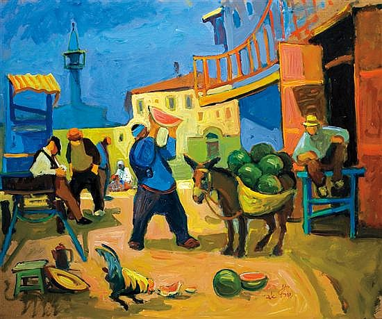 Avi Schwartz b. 1938 (Israeli) Watermelon sellers in Old Jaffa signed lower right