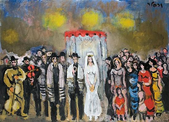 Yaacov Wexler 1912-1995 (Israeli) Jewish Wedding, 1940s oil on canvas