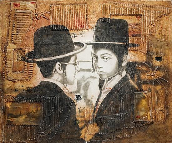 ** Alain Kleinman b. 1953 (French) Two Hassidic boys mixed media collage