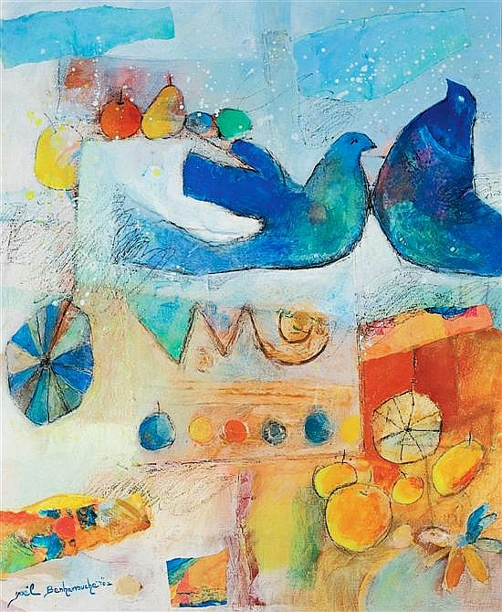 Yoel Benharrouche b. 1961 (Israeli) Landscape with doves oil and mixed media on canvas