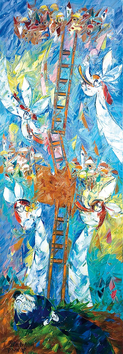 Ben Avram b. 1937 (Israeli) Jacob's Ladder oil on canvas