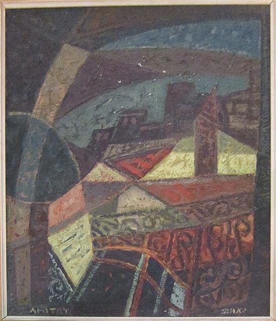 IsaacIsaac Amitai 1907-1984 (Israeli) Serende in Safed oil on cardboard