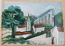 **Ossip Zadkine 1890-1967 (Russian, French) Landscape, 1928 gouache on paper