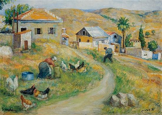 Salomon Bernstein 1886-1968 (Israeli) First settlers in Yavniel (Galilee), 1917 oil on canvas