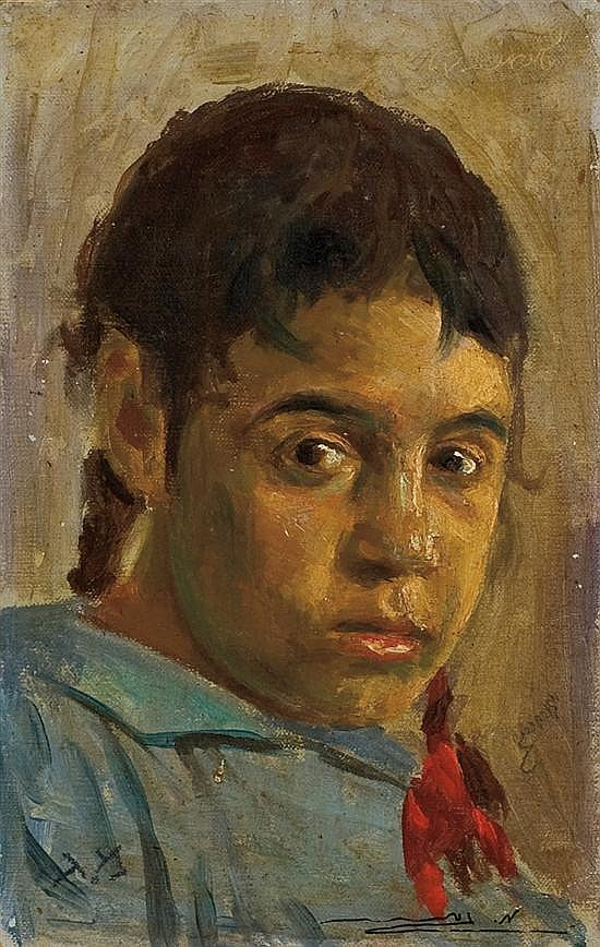 Meir Gur-Aryeh 1891-1951 (Israeli) Girl with red ribbon, c. 1920s oil on cardboard