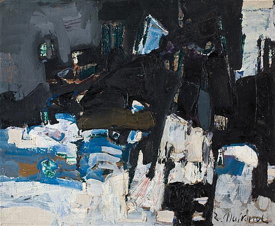Zvi Mairovitch 1911-1974 (Israeli) In front of the Dead sea, 1960's oil on canvas