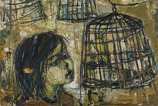 Ruth Schloss b.1922 (Israeli) Birds cage, 1961 oil on canvas