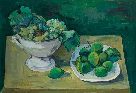 Leo Kahn 1894-1983 (Israeli) Still life with grape and pears oil on canvas