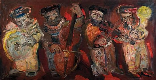 Yitzhak Frenkel Frenel 1899-1981 (Israeli) Four Musicians oil on canvas