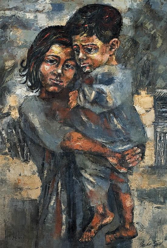 Moshe Gat b.1935 (Israeli) Mother and child oil on canvas