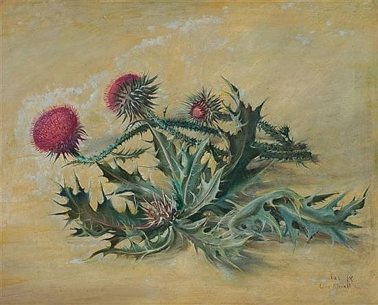 Ann Medalie 1896-1991 (Israeli) Thorns oil on masonite
