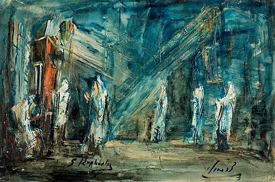 Zvi Raphaeli b.1920 (Israeli) Jerusalem street scene oil on canvas