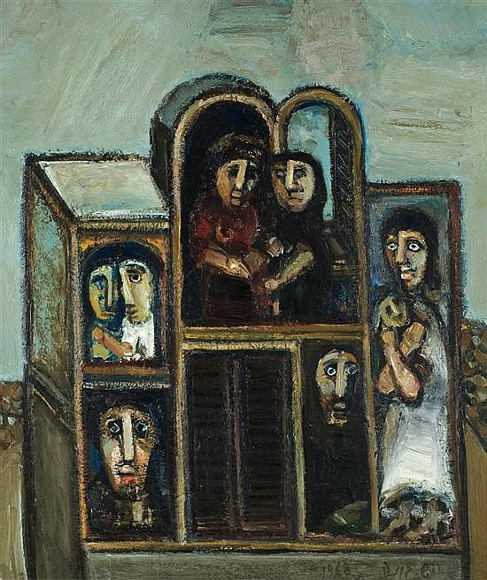 Shmuel Boneh 1930-1999 (Israeli) Figures in a house, 1968 oil on canvas